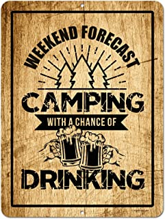 Honey Dew Gifts Funny Camping Signs, Camping with a Chance of Drinking, 9 x 12 inch Novelty Tin Camper Decor