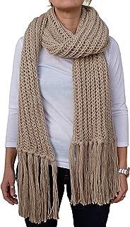 CG - Talento Fiorentino, sciarpona invernale, sciarpa fatta a maglia col. Beige, con frange applicate a mano, unisex, fatt...