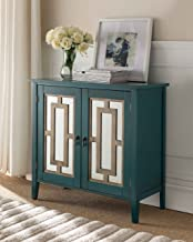 Kings Brand Antique Blue Buffet Server Cabinet / Console Table, Mirrored Doors