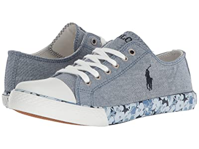 Polo Ralph Lauren Kids Slone (Big Kid) (Blue Chambray/Navy Pony Player/Printed Floral Foxing) Girl