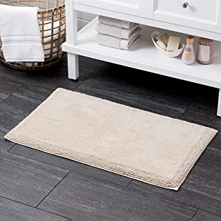 Welhome 100% Turkish Cotton Bathroom Rug - Luxurious - Soft & Thick - Non Slip Backing - Highly Absorbent - Hotel Spa Coll...