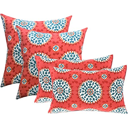 Amazon Com Hofdeco Spring Indoor Outdoor Pillow Cover Only Water Resistant For Patio Lounge Sofa Aqua Coral Pink Moroccan Maze Floral 18 X18 20 X20 12 X20 Set Of 3 Garden Outdoor
