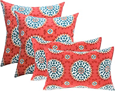 """RSH DECOR Indoor Outdoor Set of 4 (2-17""""x17"""" Square and 20""""x12"""") Lumbar Toss Throw Pillows Weather Resistant - Red, Coral, Turquoise - Watermelon Sundial"""