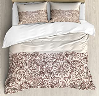 Ambesonne Oriental Duvet Cover Set, Complex Design Mandala and Paisley Nature Inspired Traditional Victorian Revival, Decorative 3 Piece Bedding Set with 2 Pillow Shams, King Size, Brown Tan