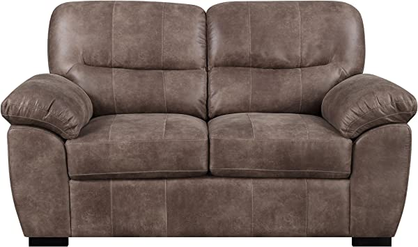 Loveseat With Faux Leather Pillow Top Back And Padded Arms