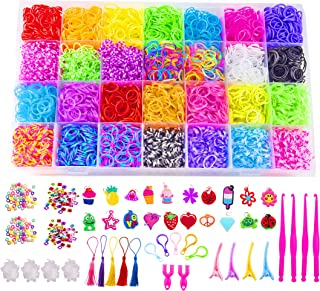 Luna Bear - 10,000+ Loom Bands and Complete Rubber Band Bracelet Kit with Storage Container, S-Hooks, Clips, Charms, Beads...