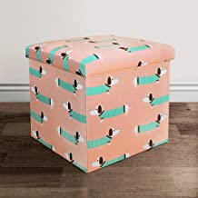 Lush Decor 16T000493 Sausage Dog Fabric Covered Collapsible Ottoman, 15 x 15 x 15, Pink