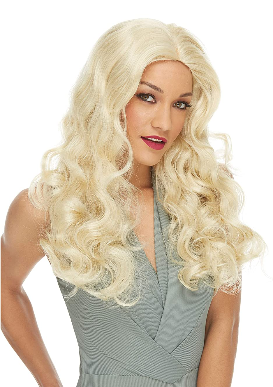 Showgirl Deluxe Wig Color Blonde - Sepia Costume Wigs Long Wavy Mid Back Length 70s Woman Ladies Witch