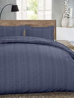 Dormisette Luxury German Flannel Duvet Cover & Shams Set, 3 Piece (Queen, Blue Stripe)