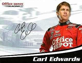 2007 Carl Edwards OFFICE DEPOT NASCAR RACING Signed Auto 8.5x11 Postcard - NASCAR Cut Signatures