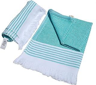 100% Cotton, Quick Dry Yoga Towel, Lightweight Turkish Towel, Pestemal, Gym Towel (Sea Green, 2)