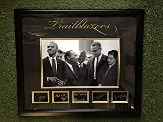 "Civil Rights Activists Martin Luther King Jr, Nelson Mandela, Malcolm X, Rosa Parks And Former President Barak Obama Custom Framed Photo with Laser Etched Signatures""Trailblazers"""