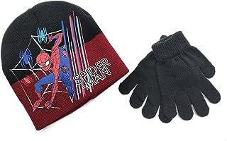 Marvel Spider-Man set muts en handschoenen voor kinderen, 100% acryl, maat 52. (Kleur: zwart-rood