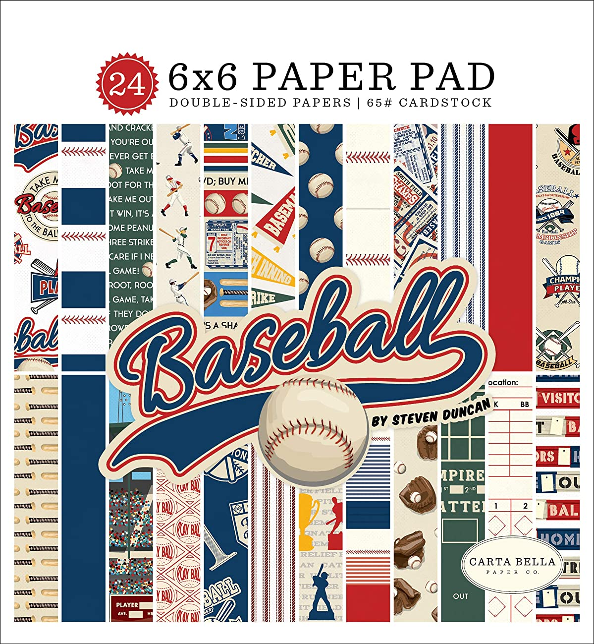 Carta Bella Paper Company CBBA95023 Baseball 6x6 Pad Paper, Brown, red, Blue, Navy, Green, Yellow