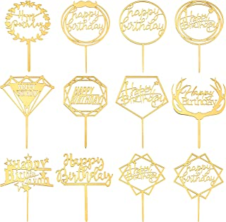 SUBANG 12 Pieces Acrylic Cake Toppers Gold Happy Birthday Cake Toppers,Gold Cake Toppers for Birthday Cake Decorations (4.1 x 6.5 inch)