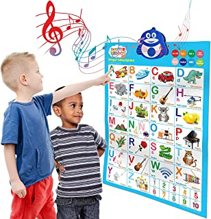 Bilingual Talking Poster: Music + ABC + 123s + Eng & Spanish + Songs - Perfect educational toys for 2 year olds and learning toys for 3 year olds. (Alphabet)