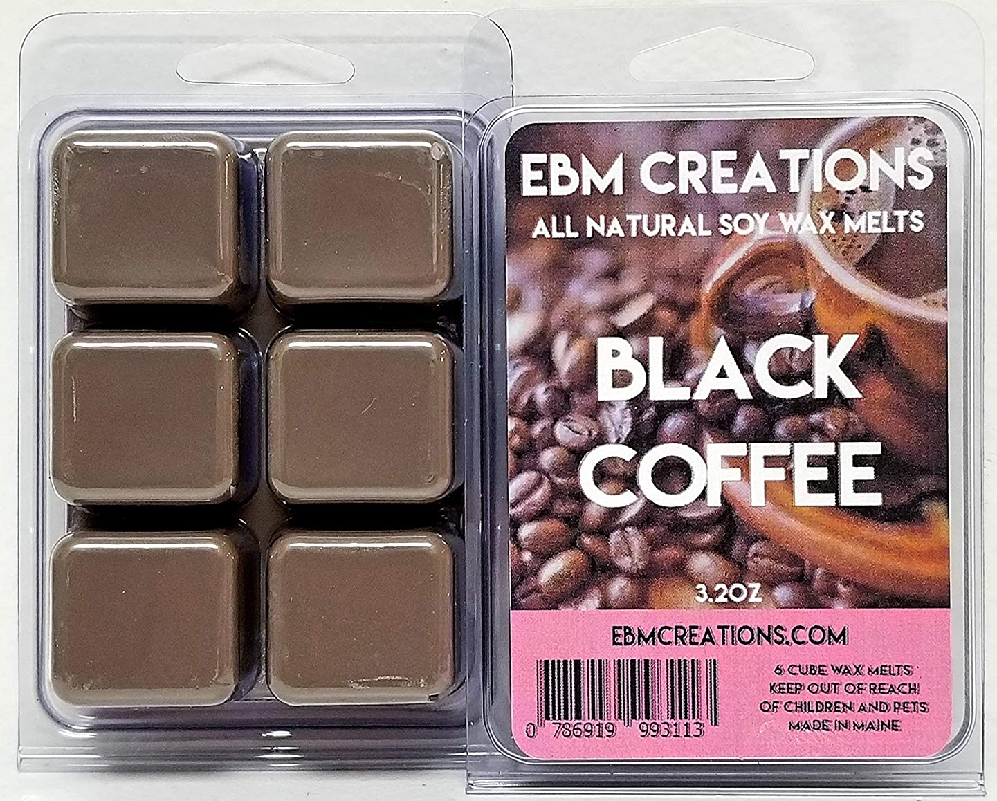 Black Coffee - Scented All Natural Soy Wax Melts - 6 Cube Clamshell 3.2oz Highly Scented!