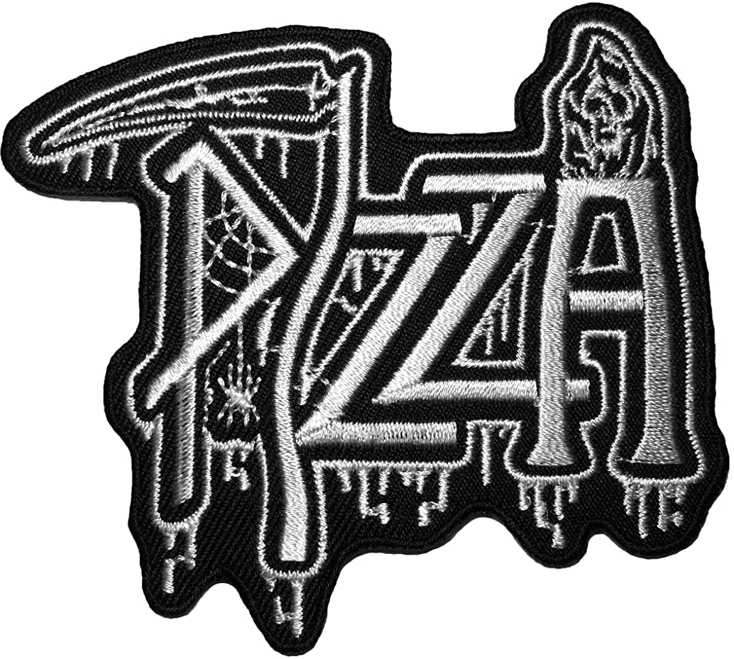 Dead pizza patch (white) 9 x 8cm biker heavy metal Logo Jacket Vest shirt hat blanket backpack T shirt Patches Embroidered Appliques Symbol Badge Cloth Sign Costume Gift