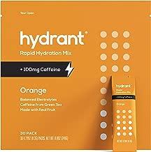Hydrant+ Caffeine & L-Theanine Orange Rapid Hydration Mix | Electrolyte Powder | Jumpstart Your Morning Drink Blend | Simple Ingredients | Vegan | 30pk