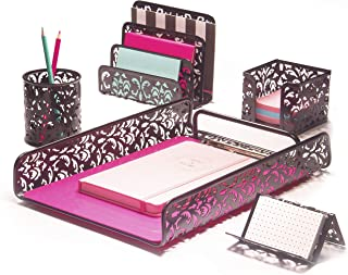 Hudstill Black Cute Desk Organizer Set for Women and Girls in Damask Design with 5 Office Supplies Accessories : File Tray...