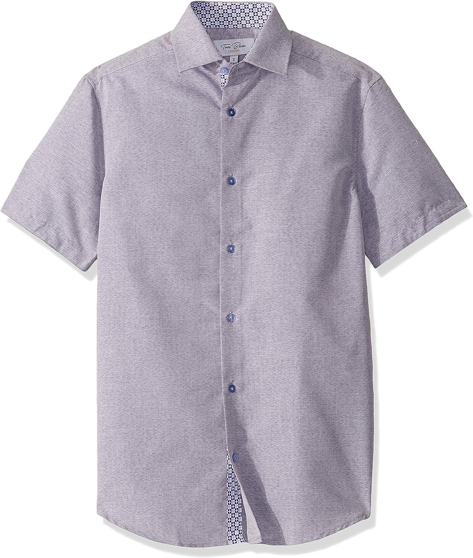 Azaro Uomo Men's Short Sleeve Button Down Casual Shirt Solid Pastel Colors