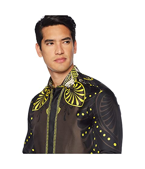 estampado seda caballos con Camisa Marrón Versace de Shpinx de Collection aZRqF