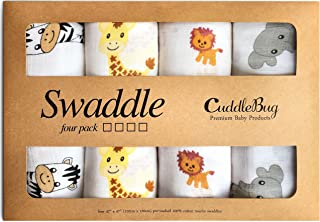 CuddleBug Muslin Baby Swaddle Blankets -Safari Friends - 4 Pack 47 x 47 inch Large Muslin Swaddles - Soft Cotton Blankets Perfect for Nursery Sets - Unisex