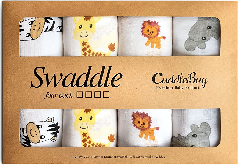 Muslin Baby Swaddle Blankets Safari Friends 4 Pack CuddleBug 47 X 47 Inch Large Muslin Swaddles Soft Cotton Blankets Baby Shower Gift Perfect For Nursery Sets Unisex