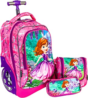 Big Wheel Sofia School Bag And Trolley For Girl Kids 18 Inch Pink Include Lunch Bag And Pencil Bag