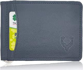 Allen Solly Money Clip Wallet for Men Genuine Leather Branded Stylish Bi-Fold Slim Coal Black Handmade Genuine Leather with Card Holders.