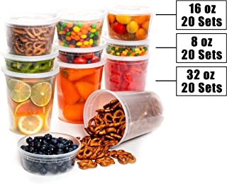 Safeware 8, 16, 32 Oz [60 Sets] Deli Plastic Food Containers with Airtight Lids, Leakproof Slime Small Combo Pack [Reusable, Storage, Disposable, Meal Prep, Soup, Microwaveable & Freezer Safe]