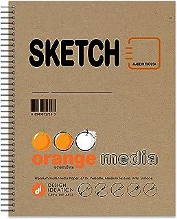 برتقالي سكيتش: كتاب رسم ورقي متعدد الوسائط الممتاز للأقلام والحبر وأقلام التحديد والفحمي والألوان المائية. رائعة للفن والت...
