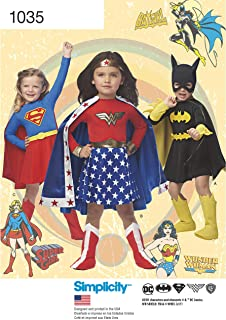 Simplicity Sewing Pattern D0969 / 1035 - Wonder Woman, Supergirl & Batgirl Costumes, Size: A (3-4-5-6-7-8)