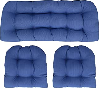 RSH Décor Indoor/Outdoor Wicker Cushions Two U-Shape and Loveseat 3 Piece Set (Blue Tiny Stripe)