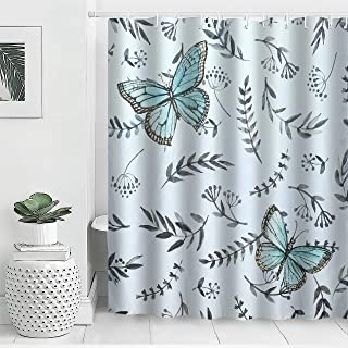AYASW Waterproof Fabric Shower Curtain Set with Hooks Natural Decor Printed Style Summer Breeze Butterfly 72x72 inches