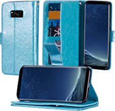 S8 Plus Case Samsung Galaxy S8 Plus Case Glitter Luxury Bling Faux Leather Flip Credit Card Holder Wristlet Shockproof Protective Wallet Case (6.2 inch) (Teal)