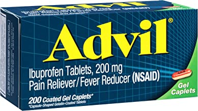 Advil (200Count) Pain Reliever/Fever Reducer Coated Gel Caplet, 200mg Ibuprofen, Temporary Pain Relief