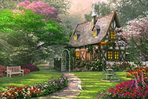 Jigsaw Puzzles 1000 Piece for Adults for Kids– 1000 Piece Puzzles for Adults – Flower Cottage - Premium Quality Puzzle Game Toys – Includes Image Poster – Missing Piece Support – Relaxing Hobby