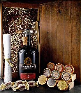 Geschenk Bunnahabhain 12 Jahre Single Malt Whisky  Glaskugelportionierer  Edelschokolade  Whiskey Fudge