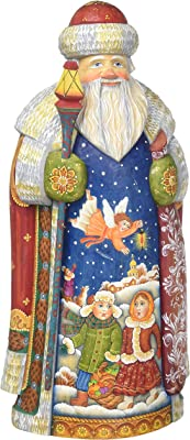 G. Debrekht Guarded Kids Father Frost Santa Carved Wood and Hand-Painted Figurine