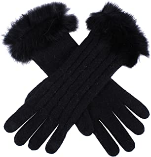 Dents Women's Lambswool Angora And Nylon Blend Cable Knit Gloves With Fur Cuff