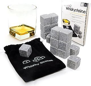18 x Whisky-Steine 2 x 9er SET aus natürlichem Speckstein für Getränkeon the rocks, Nordic Rocks, Kühlsteine im praktischen Stoffbeutel - Marke Ganzoo