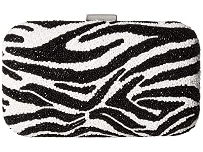 Alice + Olivia Shirley Embellished Clutch (Black/White) Handbags