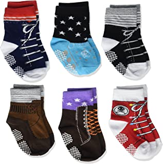 Kakalu Todder 6 Pairs Non Sikd Shoe Socks Infant Baby Boy Anti Slip Cotton Cozy Ankle Low Cut Footsocks Sneakers Crew Walker Socks with Grips for 12-24 Months