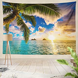 ONELZ Decor Collection, Beautiful Sunrise Hawaii Hawaii Beach Sunset Ocean Aloha Art Beach Sunset Bedroom Living Room Dorm Wall Hanging Tapestry 60 L x 80 W Polyester Blend