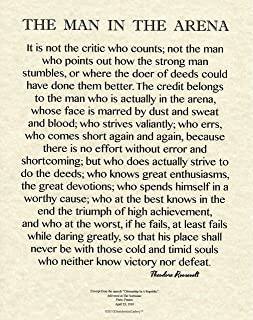 Desiderata Gallery 11x14 Words of Wisdom by Theodore Roosevelt - The Man in The Arena- Archival Parchment Print