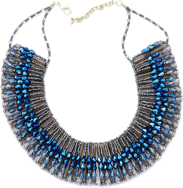 Purple Dew Handmade Beaded Rays Blue Collar Bib Fashion Statement Necklace