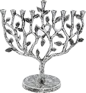 Hanukkah Menorah Tree of Life Antique Silver Finish