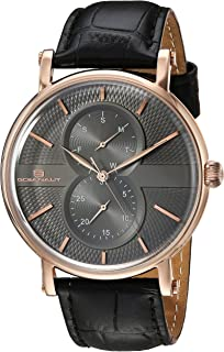 Oceanaut Men's Lexington Stainless Steel Quartz Watch with Leather Strap, Black, 22 (Model: OC0342)
