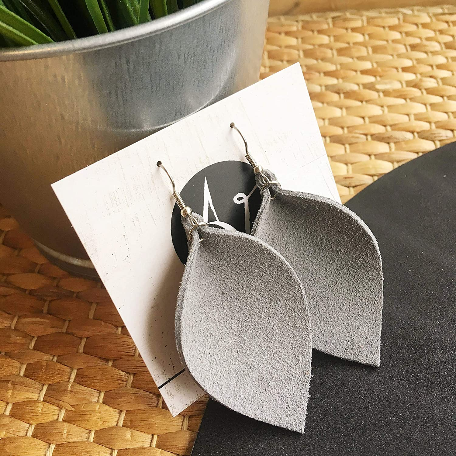 Grey Suede Leather online shop Leaf Earrings Max 59% OFF